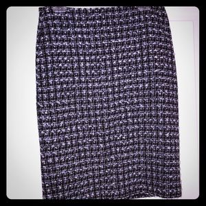 Size 6 Talbots black and white tweed pencil skirt